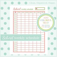 SCHOOL WEEKLY SCHEDULE - 1 Document - Instant Download - school organizer / high school / college / student planner