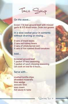 its whats for dinner tonight =] nice for this chilly rainy day we're having!its whats for dinner tonight =] nice for this chilly rainy day we're having! Low Carb Taco Soup, Easy Taco Soup, Chicken Taco Soup, Crock Pot Tacos, Crock Pot Soup, Crock Pot Cooking, What's Cooking, Cooker Recipes, Crockpot Recipes