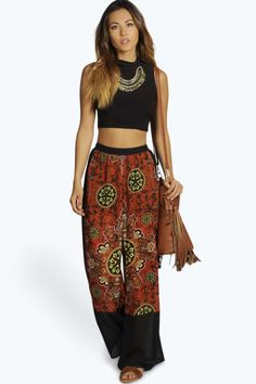 Kelsie Boho Scarf Print Wide Leg Chiffon Trousers alternative image