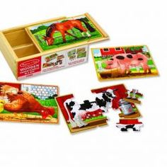 Melissa and Doug - Farm Animal Puzzles in a Box - Toys and Games Ireland Wooden Storage Boxes, Wooden Boxes, Puzzle Pieces, Puzzle Board, Dinosaur Puzzles, Animal Puzzle, Wooden Jigsaw Puzzles, Shape Coding, Farm Toys