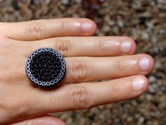 Black Vintage Button Ring by ChatterBlossom