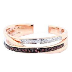 10K Rose Gold Fashion Ring 0.15cttww Coganc and Diamonds 6mm Wide
