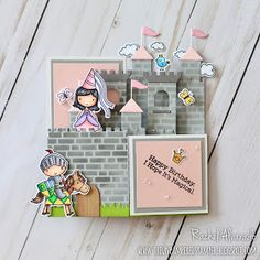 Today I wanted to share with you a fun castle-themed Box Card featuring both the Once Upon a Time and Knight in . Card In A Box, Pop Up Box Cards, 3d Cards, Cute Cards, Card Kit, Fancy Fold Cards, Folded Cards, Exploding Box Card, Interactive Cards