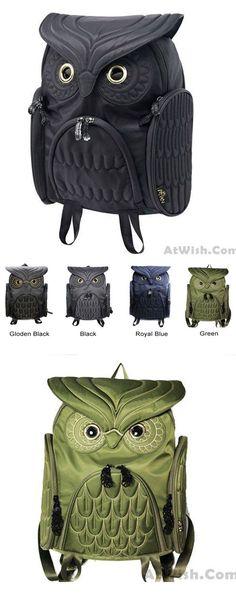 Fashion Street Cool Owl Shape Solid Computer Backpack School Bag Travel Bag #backpack #bag  #owl