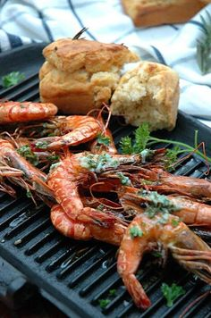 Grilled Prawns with Lemon Butter - Foto My easy cooking Tapas Recipes, Seafood Recipes, Asian Recipes, Healthy Recipes, Grilled Prawns, Prawn Shrimp, Grilled Seafood, Grilled Fish, Fresco