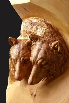 "Deep relief carving "" Wolves"""