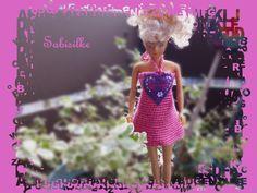 Puppenkleidung - Minikleid mit Herz ***  für Barbie *** pink/lila - ein Designerstück von Sabisilke bei DaWanda