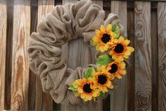 Sunflower Burlap Wreath by WhirlwindCreation on Etsy, $35.00