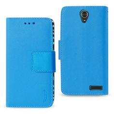 Reiko Zte Grand X3 Wallet Case 3 In 1 Zebra Pattern-Blue With Interior Leather Polymer And Stand Function