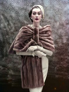 Dovima fur is amazing! Retro fur is fabulous! This is a beautiful example. Vintage Vogue, Vintage Glamour, Fur Vintage, Moda Vintage, Looks Vintage, Vintage Beauty, Vintage Ladies, Fifties Fashion, Retro Fashion