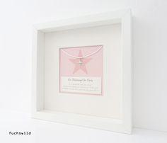 Geschenke zur Geburt, Geschenke zur Taufe, Schutzengel Bild Anhänger Stern rosa 1