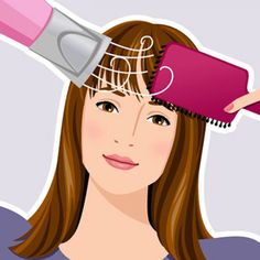 Comb out wet bangs. Focus heat from above with a blow-dryer fitted with nozzle and use a paddle brush to pull bangs to the right for five seconds, then to the left. Repeat going back and forth until bangs are completely dry. To nix flyaways, finish by holding the brush underneath with dryer set on cool. - FamilyCircle.com