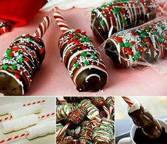 These Chocolate Dipped Marshmallow Sticks are the perfect Party Treat and they look and taste great! You'll also love the Sprinkled Marshmallow Pops. Recipes, DIY, Craft, Gardening, Crochet and Kids activities. Christmas Snacks, Christmas Cooking, Christmas Goodies, Christmas Candy, Holiday Treats, Christmas Recipes, Holiday Parties, Christmas Favors, Christmas Time