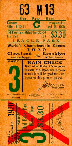 1920 world series ticket at League Park