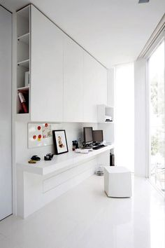 Modern Home Office // all white