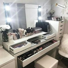 DIY Vanity Mirror With Lights For Bathroom And Makeup Station. Furniture: Wonderful Walmart Makeup Table For Bedroom . Black White Pink Beauty Room Home Salon Makeup Salon. Diy Vanity Mirror, Makeup Table Vanity, Vanity Room, Vanity Desk, Ikea Mirror, Makeup Vanities, Vanity Drawers, Make Up Mirror, Makeup Vanity Tables