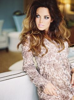 Long brunette glam wavy balayage ombré hair color smoky eye makeup