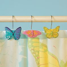 Spring Butterfly Shower Curtain Hooks - OrientalTrading.com