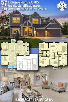 Love the open first floor and the upstairs laundry, 4 beds! Open Concept House Plans, Open Concept Great Room, Dream House Plans, House Floor Plans, My Dream Home, Dream Homes, American Houses, House Blueprints, Sims House