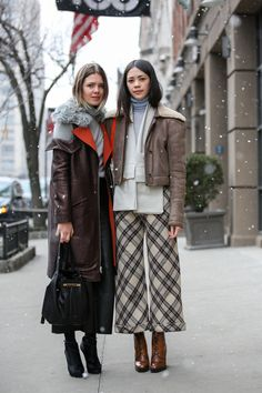 Below-Freezing NYC Street Style That's Still Fire #refinery29  http://www.refinery29.com/2015/02/82279/new-york-fashion-week-2015-street-style-pictures#slide-125  Girls who turtleneck together, travel together. Rodarte coat.