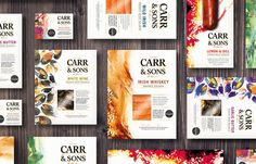 """Honey has created the new mouth watering brand and packaging for Carr and Sons a premium salmon and shellfish range. """"The design brings to life the skill and craftsmanship that goes into preparing the award winning products. The artworks  were especially created to reflect the art form, using them in an abstract way hints at Irish shores where the products originated."""""""
