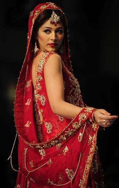 A model presents a creation by Pakistani designer La Chantal by Saba on the last day of Bridal Couture Week in Karachi #Wedding #India