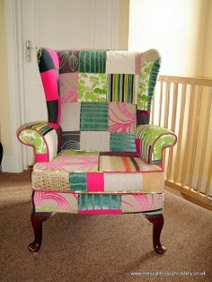 I might not go quite this bright in my house, but I love the use of patchwork on this wing back chair. Nice!