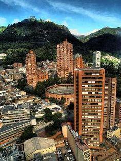 "Bogota, Colombia view of the ""plaza de toros""."