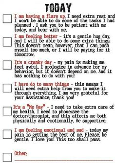 How to tell your Friends and Family What Kind of Day It Is? Living with Lupus/ Fibromyalgia / Chronic Pain Chronic Migraines, Chronic Illness, Chronic Pain, Fibromyalgia Pain Relief, Rheumatische Arthritis, Psoriatic Arthritis, Ulcerative Colitis, Rheumatoid Arthritis Quotes, Arthritis Exercises