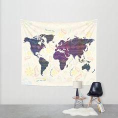 XO SALE World Map tapestry bohemian wall tapestry wall by Famenxt