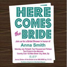 Here Comes the Bride Bridal Shower Invitations