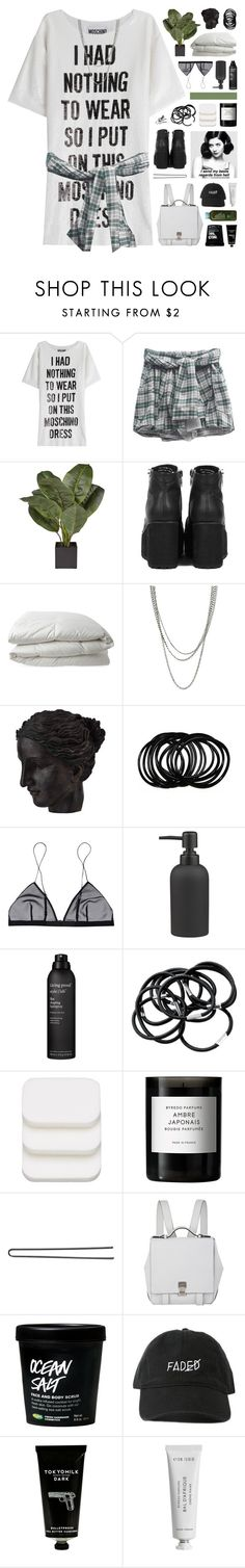 """""""you say you need someone to love you"""" by hhuricane ❤ liked on Polyvore featuring Moschino, Nimbus, ASOS, Ren-Wil, Jean Yu, CB2, Living Proof, H&M, COVERGIRL and Byredo"""