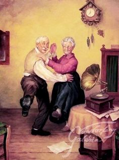 Shall we dance! Photo Zen, Photo D Art, Vieux Couples, Old Couples, Caleb Y Sofia, Photo Humour, Illustrations, Illustration Art, Growing Old Together
