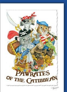 Pawrates of the Catibbean - Pirate Cats -  set of 3 notecards