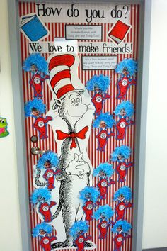 Our kindergarten classroom door inspired by an idea I saw on Pintrest. Added a revised poem and a fantastic Cat in the Hat from School Box!