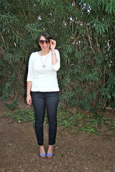 White Sweater + Navy Blue Skinny Trousers + Printed Wedges #outfit #spring #fashion