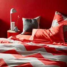 Chevron Grande Neon Coral Double bed quilt cover #aurahome