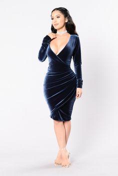 - Available in Slate - Deep V - Long Sleeve - Midi Length - Ruching - Side Zipper Detail - Velvet - 100% Polyester