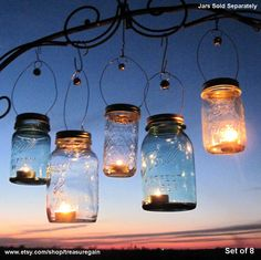 Candle Jar Gifts 8 DIY Hostess or Favor Gifts, Silver Gold Mason Jar Party Lanterns with Bell Decor, No Jars. $28.00, via Etsy.