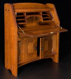 "Old Ways Limited -- Drop Font Desk -- 48"" h x 35"" w x 14"" -- #mission #craftsman arts and crafts style"