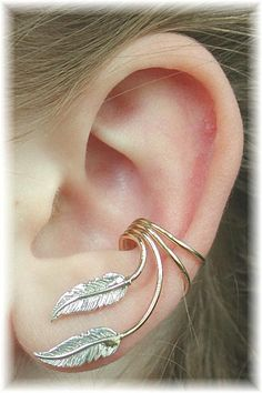 Sterling Silver and Gold Filled Feather Ear Cuff $33