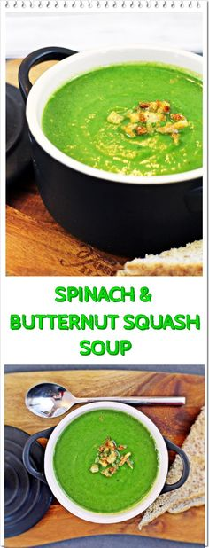Delicious Spinach & Butternut Squash Soup, with a lovely subtle sweetness from the squash and a creamy texturee, this healthy soup is a real winner! - Fab Food 4 All