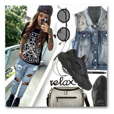 """Denim style"" by stylemoi-offical ❤ liked on Polyvore featuring Acne Studios, Urban Decay, Molami, NIKE, LookForLess and stylemoi"