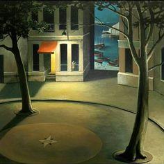 Michiel Schrijver (Dutch, born Surreal architecture painter, acrylic on canvas) House Landscape, Urban Landscape, Landscape Art, Landscape Paintings, Nocturne, Unusual Art, Historical Art, Invitation, Dream Art