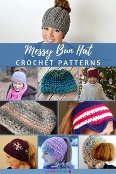 These crochet messy bun hat patterns come in all colors and yarn weights, from worsted weight to super bulky! Hold your ponytail with a new beanie. Crochet Winter Hats, Crochet Baby Hats, Free Crochet, Unique Crochet, Hat Patterns, Crochet Stitches, Crochet Hat For Beginners, Beginner Crochet, Threading