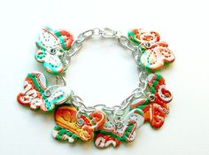 Recycled Soda Can Art Orange Crush Butterfly Bracelet
