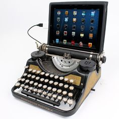For those of you who are tired of using stereotypical computer keyboards, here's the latest gadget from vintage design heaven. These antique typewriters have been modified to work as a fully functional USB Keyboard for PC, Mac and iPad. Cool Technology, Technology Gadgets, Computer Technology, Usb, Antique Typewriter, Royal Typewriter, Retro Typewriter, Radios, Spy Gadgets
