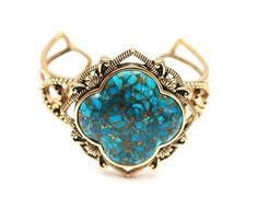 Barse  Bronze Cuff  Spider web Turquoise Gemstone  open work
