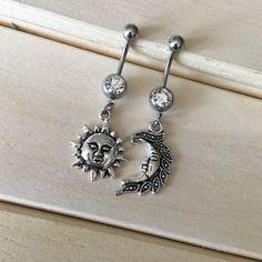Sun & Moon Belly Button Ring Set on Mercari Belly Button Piercing Jewelry, Bellybutton Piercings, Navel Piercing, Tongue Piercings, Cartilage Piercings, Peircings, Steam Punk Jewelry, Skull Jewelry, Body Jewelry