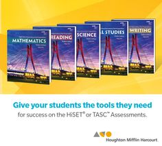 Give your students the tools they need to complete their HiSET or TASC Assessment now! HMH's High School Equivalency Test Preparation program prepares students ages 14 to adult  for success on the HiSet® and TASC™ assessments.